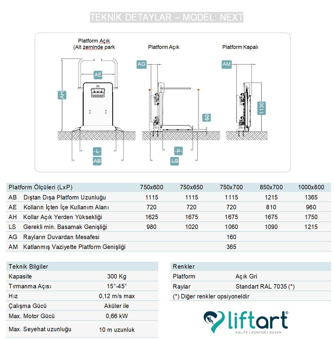 next engelli asansörü teknik ölçüleri teknik detayları